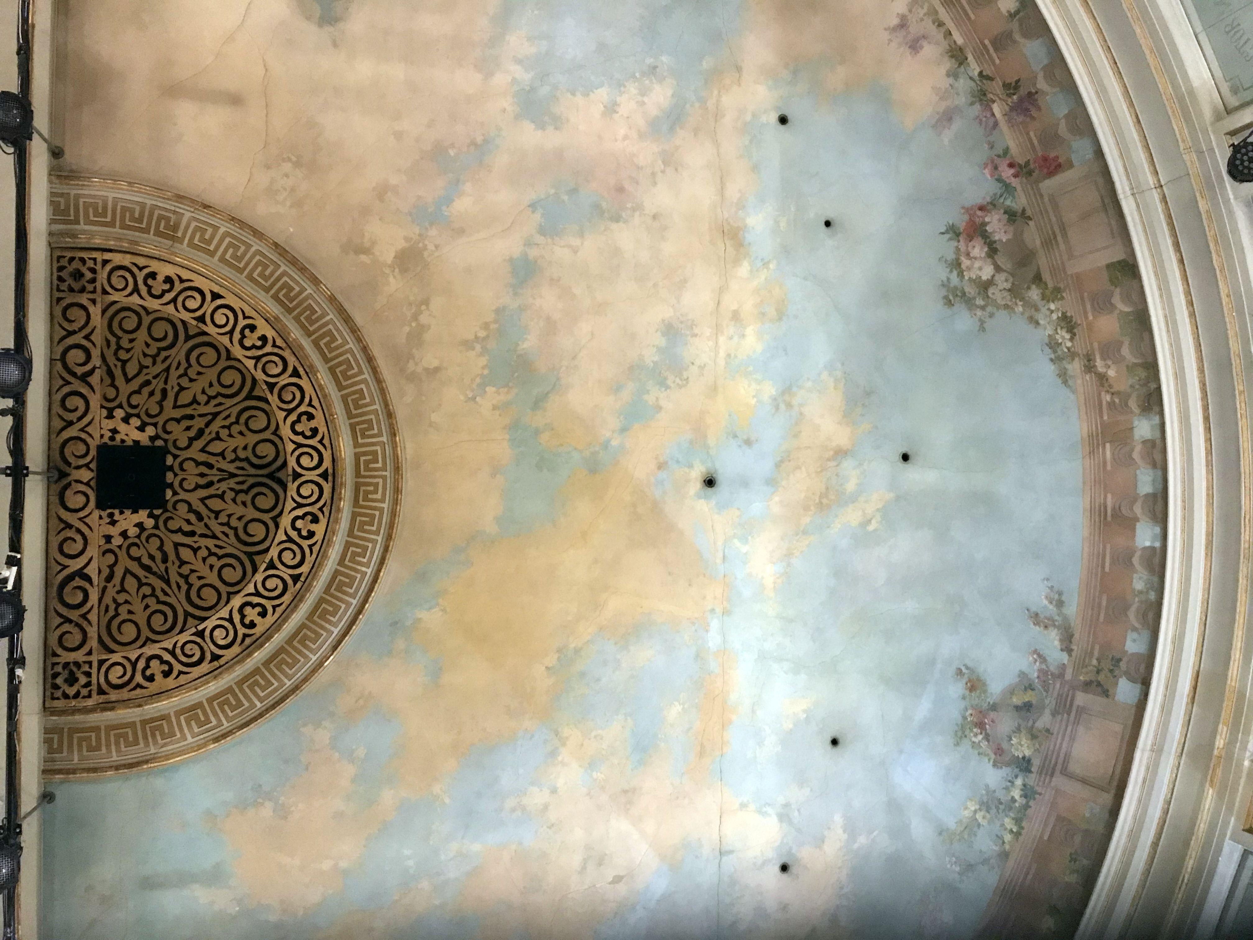 Détail du décor peint du plafond