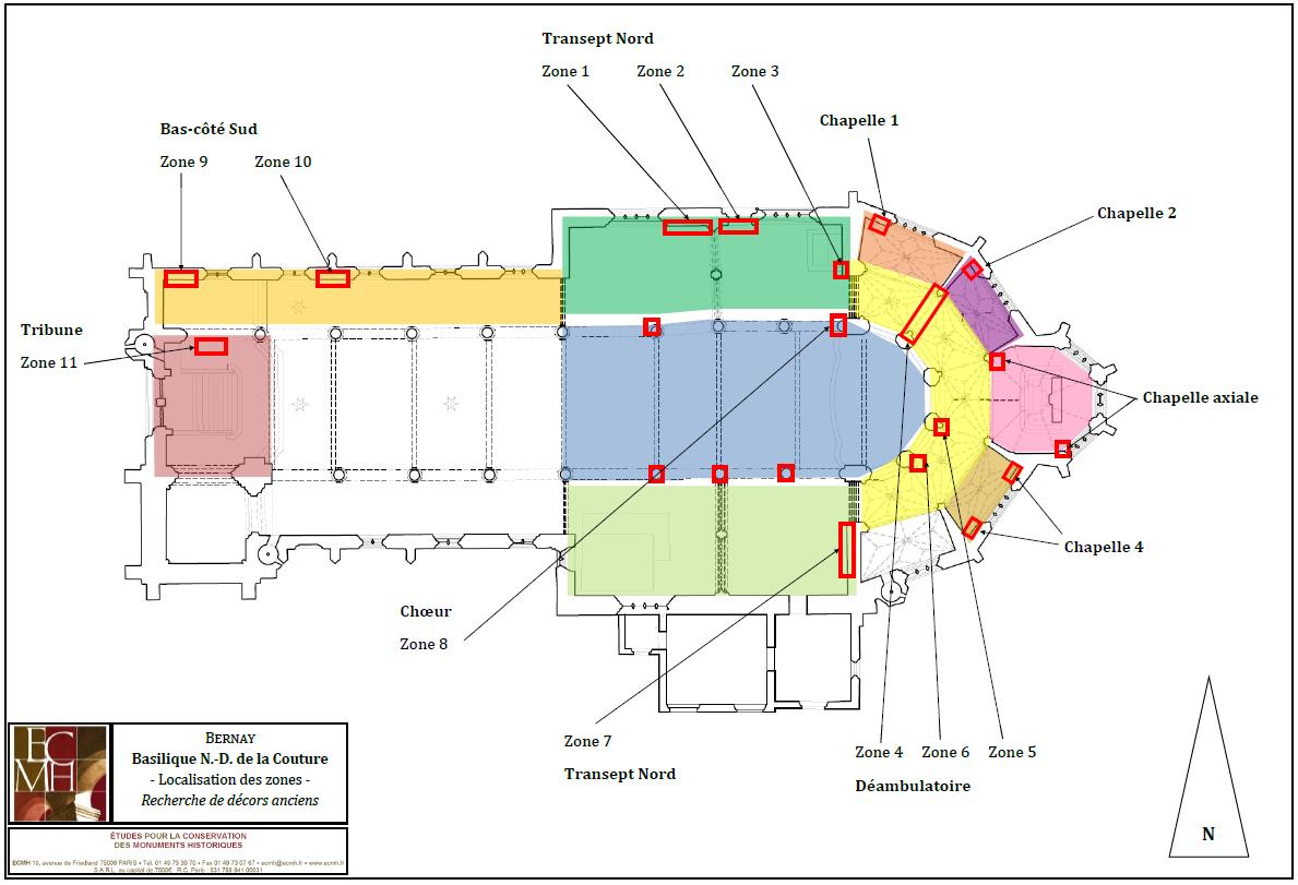 Localisation des investigations sur le plan de la basilique