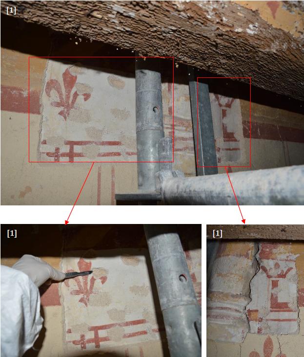 Sondages stratigraphiques identifiant des décors peints anciens