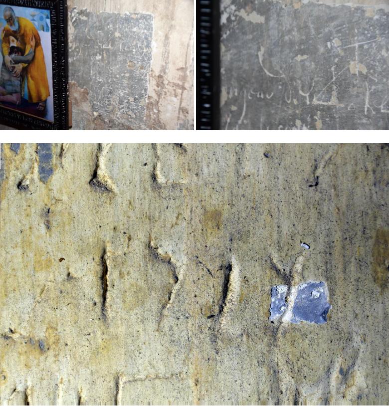 Datation d'un décor dégagé par sondage par observation des graffitis